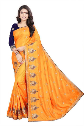 Mustard Color Silk Women's Embroidered Saree - RVF02E05407