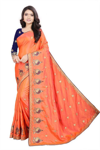 Peach Color Silk Women's Embroidered Saree - RVF02E05507