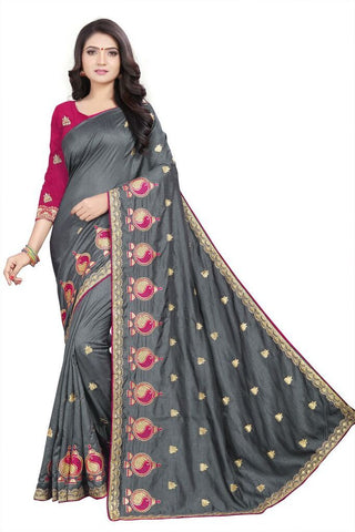 Grey Color Silk Women's Embroidered Saree - RVF02E05607