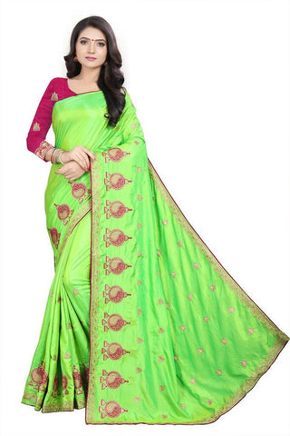 Parrot Green Color Silk Women's Embroidered Saree - RVF02E05707