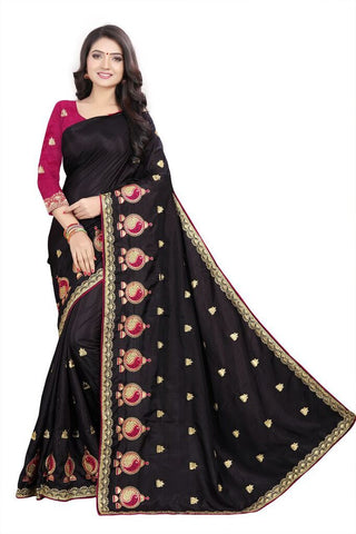 Black Color Silk Women's Embroidered Saree - RVF02E05807