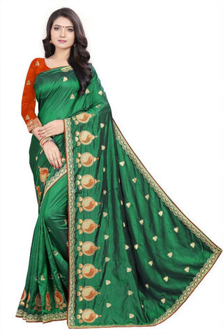 Green Color Silk Women's Embroidered Saree - RVF02E05907