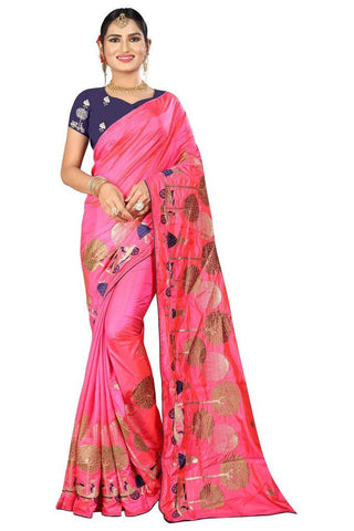 Pink Color Silk Women's Embroidered Saree - RVF02E06007