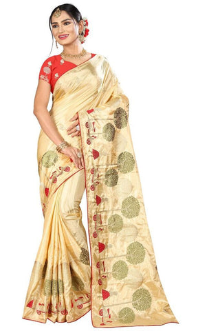 Beige Color Silk Women's Embroidered Saree - RVF02E06107