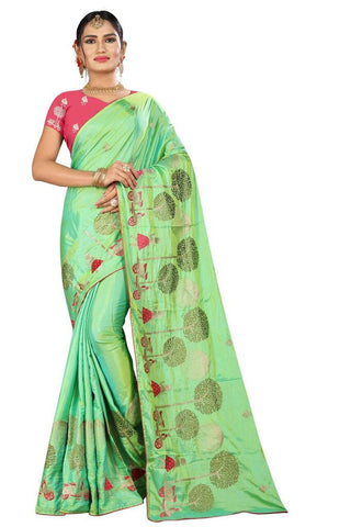 Sea Green Color Silk Women's Embroidered Saree - RVF02E06207