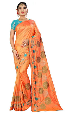 Peach Color Silk Women's Embroidered Saree - RVF02E06307
