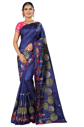 Royal Blue Color Silk Women's Embroidered Saree - RVF02E06407