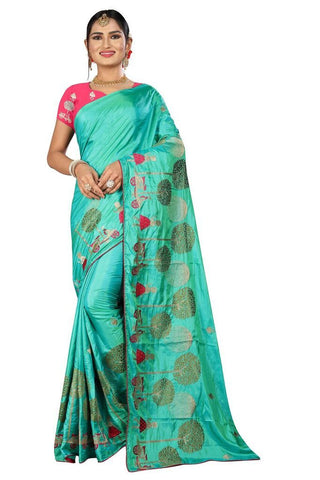 Teal Color Silk Women's Embroidered Saree - RVF02E06507