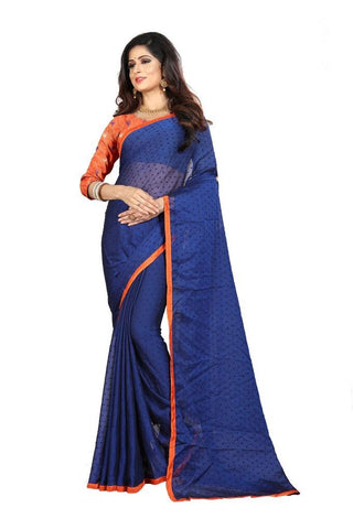 Navy Blue Color Silk Women's Embroidered Saree - RVF02E06607