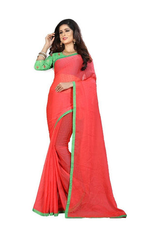 Peach Color Silk Women's Embroidered Saree - RVF02E06707