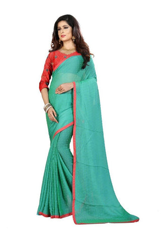 Teal Color Silk Women's Embroidered Saree - RVF02E07007