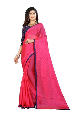 Pink Color Silk Women's Embroidered Saree - RVF02E07107