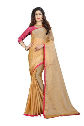 Cream Color Silk Women's Embroidered Saree - RVF02E07207