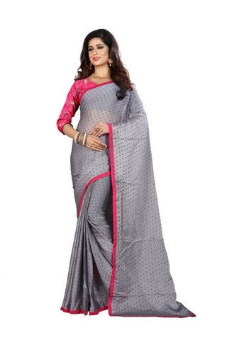 Grey Color Silk Women's Embroidered Saree - RVF02E07307