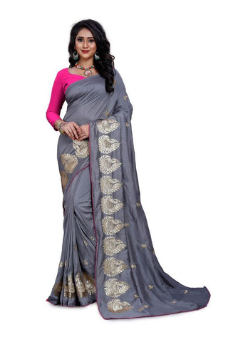 Grey Color Silk Women's Embroidered Saree - RVF02E07407