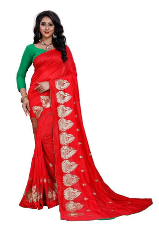 Red Color Silk Women's Embroidered Saree - RVF02E07507