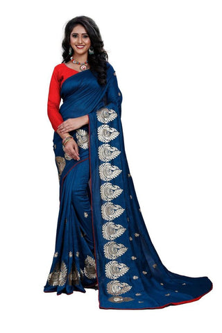 Navy Blue Color Silk Women's Embroidered Saree - RVF02E07607