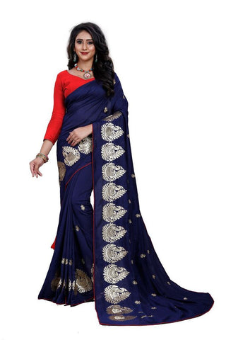 Royal Blue Color Silk Women's Embroidered Saree - RVF02E07707
