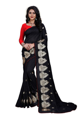 Black Color Silk Women's Embroidered Saree - RVF02E07807