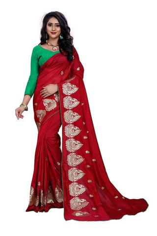 Maroon Color Silk Women's Embroidered Saree - RVF02E07907