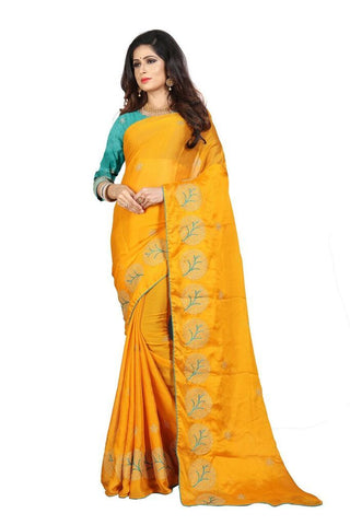 Mustard Color Silk Women's Embroidered Saree - RVF02E08007