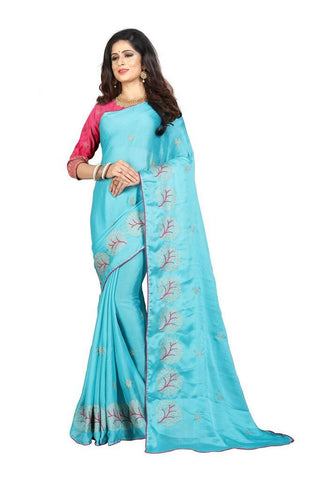 Sky Blue Color Silk Women's Embroidered Saree - RVF02E08107