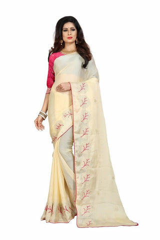 Beige Color Silk Women's Embroidered Saree - RVF02E08207