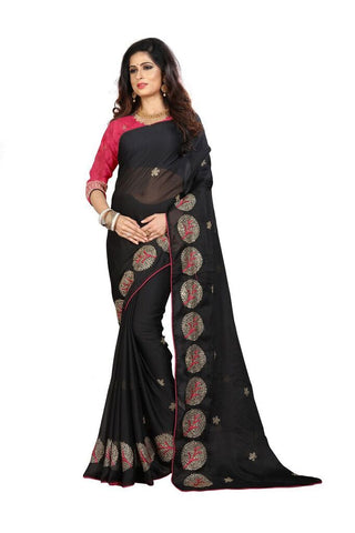 Black Color Silk Women's Embroidered Saree - RVF02E08307