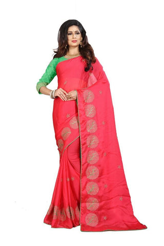 Red Color Silk Women's Embroidered Saree - RVF02E08407