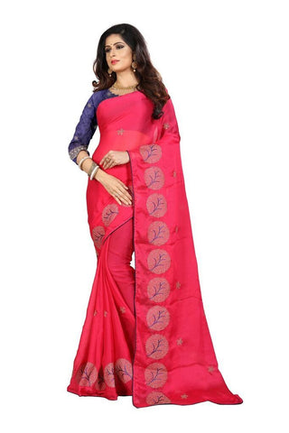 Pink Color Silk Women's Embroidered Saree - RVF02E08507