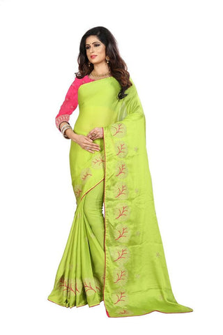 Parrot Green Color Silk Women's Embroidered Saree - RVF02E08607