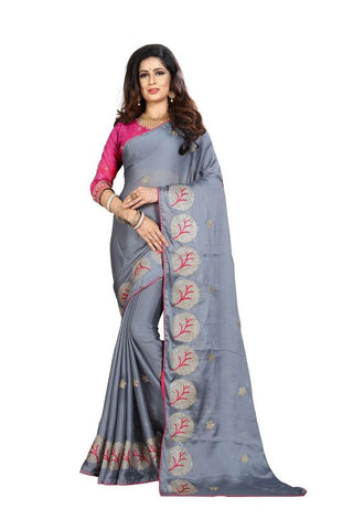 Grey Color Silk Women's Embroidered Saree - RVF02E08707