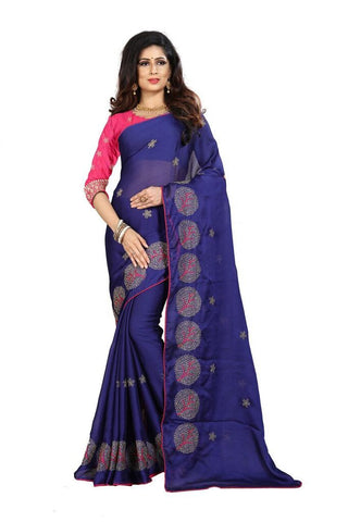 Navy Blue Color Silk Women's Embroidered Saree - RVF02E08807