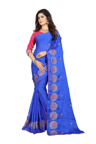 Blue Color Silk Women's Embroidered Saree - RVF02E08907