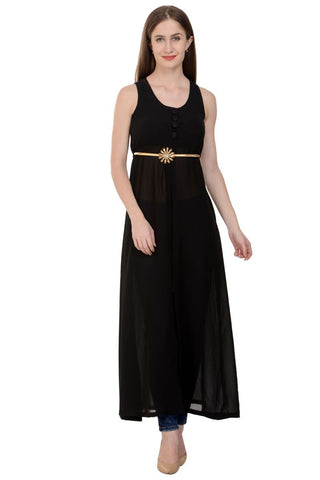 Black Color Georgette Sleeveless Dress - RWD165