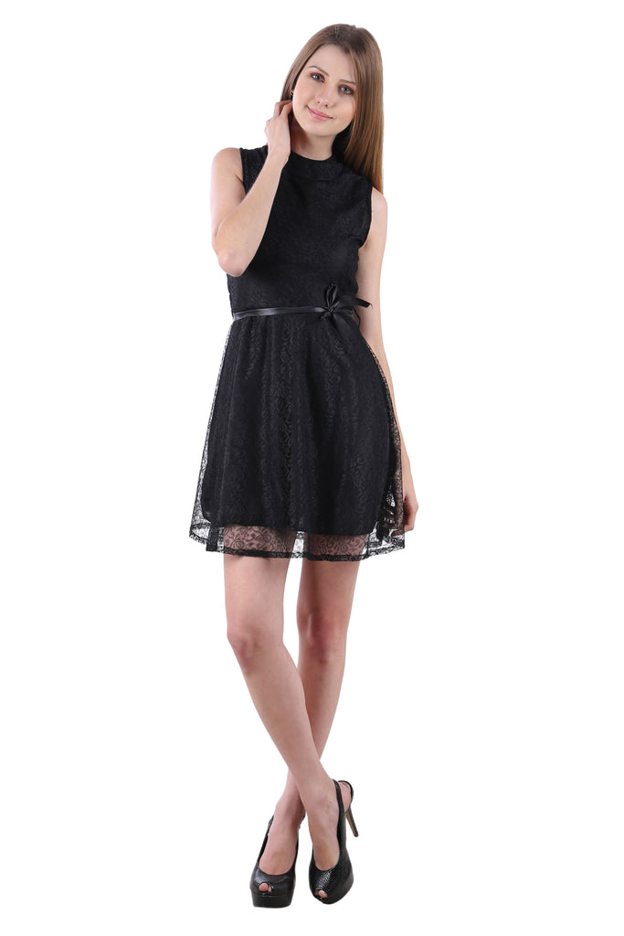 Black Color Net Sleeveless Dress