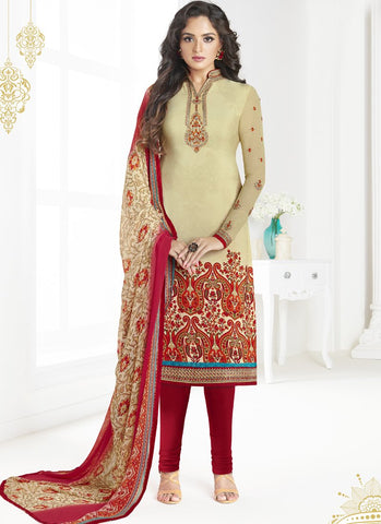 Beige Color French Crepe UnStitched Salwar - Raaga-3601