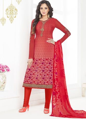 Red Color French Crepe UnStitched Salwar - Raaga-3605