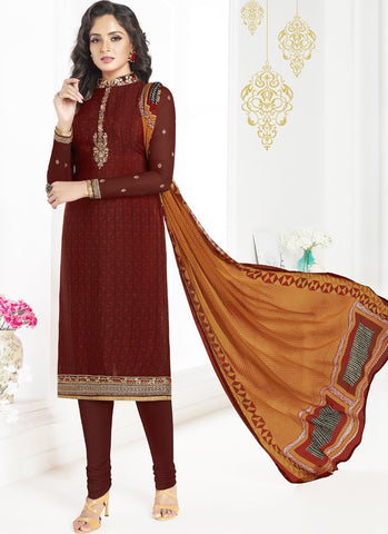Wine Color French Crepe UnStitched Salwar - Raaga-3606