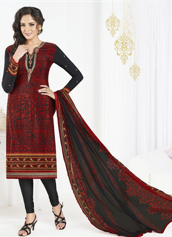 Red and Black Color French Crepe UnStitched Salwar - Raaga-3609