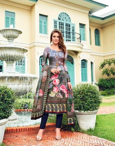 Multi Color Maska Satin Semi Stitched Salwar - Raaga-3704
