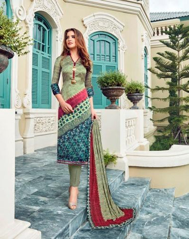 Multi Color Maska Satin Semi Stitched Salwar - Raaga-3711