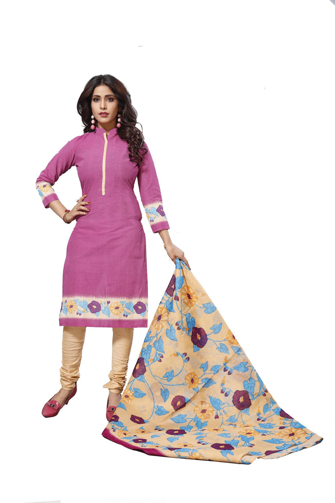 Buy Pink Color Cotton Stitched Salwar