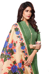 Green Color Cotton  Stitched Salwar  - Raazi-1006