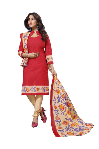Red Color Cotton  Stitched Salwar  - Raazi-1008