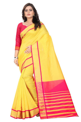 Yellow Color Cotton Saree - Radhika-Yellow