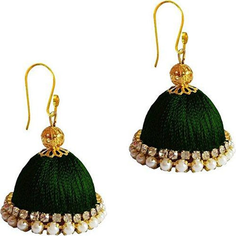 Dark Green Color Silk Thread Ear Rings - Ragini-002