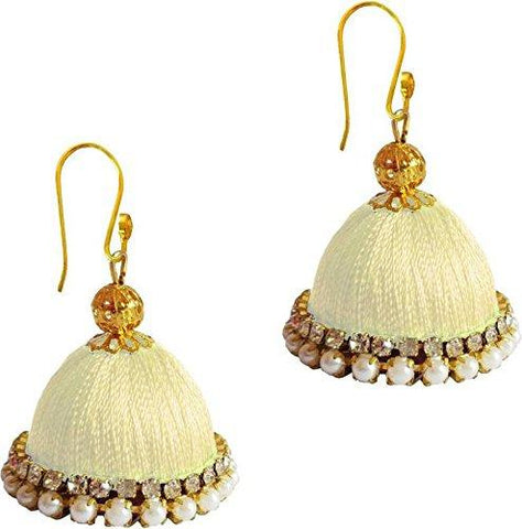 Cream Color Silk Thread Ear Rings - Ragini-003