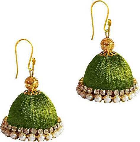 Green Color Silk Thread Ear Rings - Ragini-004