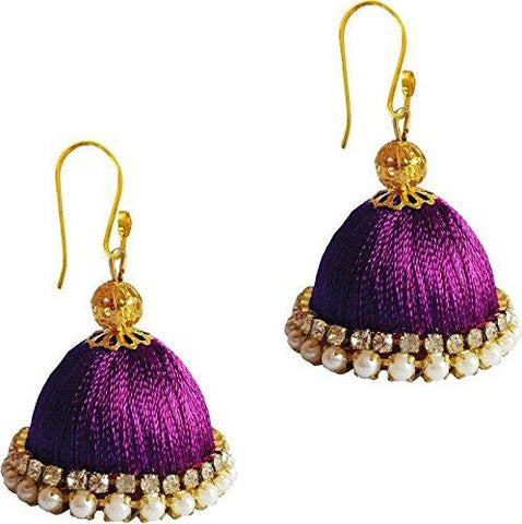 Magenta Color Silk Thread Ear Rings - Ragini-005
